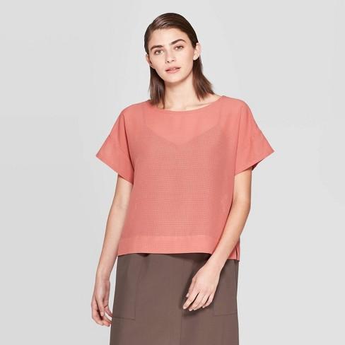 Women's Short Sleeve Crewneck Blouse - Prologue™ Rose - image 1 of 3