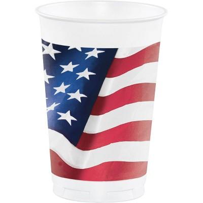 24ct Patriotic Flag Disposable Plastic Cups