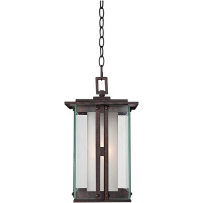 """Franklin Iron Works Modern Outdoor Ceiling Light Hanging Lantern Bronze 15 3/4"""" Clear Frosted Glass for Exterior House Porch Patio"""