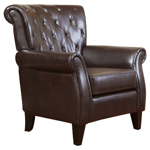 Greggory Club Chair Brown - Christopher Knight Home - image 1 of 4
