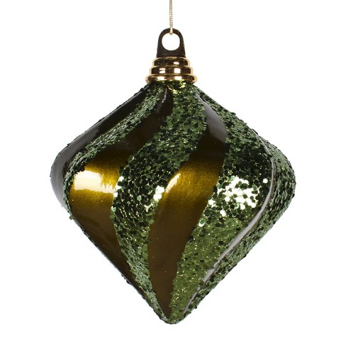 "6"" Olive Candy Glitter Swirl Diamond Christmas Ornament - image 1 of 1"