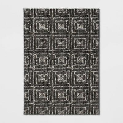 5' x 7' Diamond Pixel Outdoor Rug Black - Project 62™