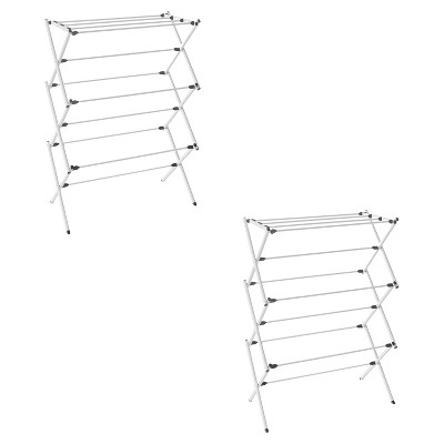 Homz Collapsible 10 Rod Metal Drying Rack and Clothes Hanging  Rack for College Dorm, Bathroom, Laundry Room, Apartment, and Studio, Silver (2 Pack)