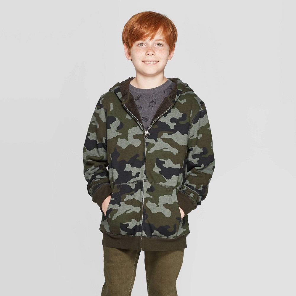 Boys' Long Sleeve Hooded Sweatshirt - Cat & Jack Blue L, Boy's, Size: Large thumbnail