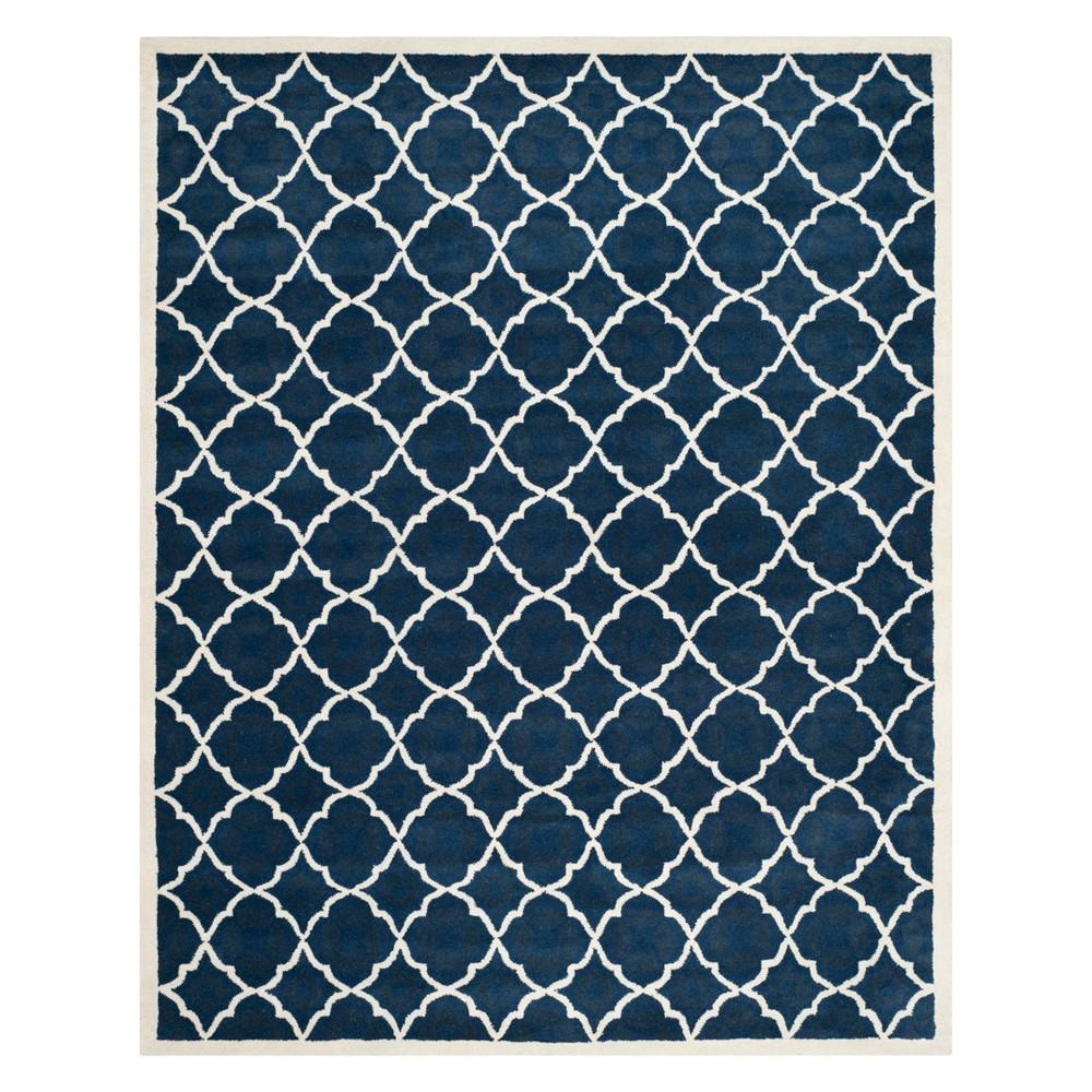 8'9X12' Quatrefoil Design Tufted Area Rug Blue/Ivory - Safavieh
