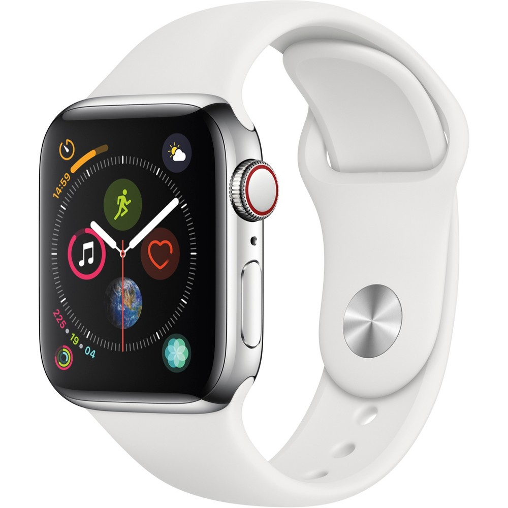 Apple Watch Series 4 Gps & Cellular 40mm Silver Stainless Steel Case with Sport Band - White, White Sport Band Fundamentally redesigned and reengineered. The largest Apple Watch display yet. Built-in electrical heart sensor. New Digital Crown with haptic feedback. Low and high heart rate notifications. Fall detection and Emergency Sos. New Breathe watch faces. Automatic workout detection. New yoga and hiking workouts. Advanced features for runners like cadence and pace alerts. New head-to-head competitions. Activity sharing with friends. Personalized coaching. Monthly challenges and achievement awards. Built-in cellular lets you use Walkie-Talkie, make phone calls, and send messages. Stream Apple Music and Apple Podcasts. And use Siri in all-new ways—even while you're away from your phone. With Apple Watch Series 4, you can do it all with just your watch. Selection may vary; see a sales associate for available models. Apple Watch Series 4 (Gps + Cellular) requires an iPhone 6 or later with iOS 12 or later. Wireless service plan required for cellular service. Apple Watch and iPhone service provider must be the same. Not all service providers support enterprise accounts; check with your employer and service provider. Roaming is not available outside your carrier network coverage area. Contact your service provider for more details. Apple Music requires a subscription. Compared with the previous generation. Iso standard 22810:2010. Appropriate for shallow-water activities like swimming. Submersion below shallow depth and high-velocity water activities not recommended. Color: White Sport Band.