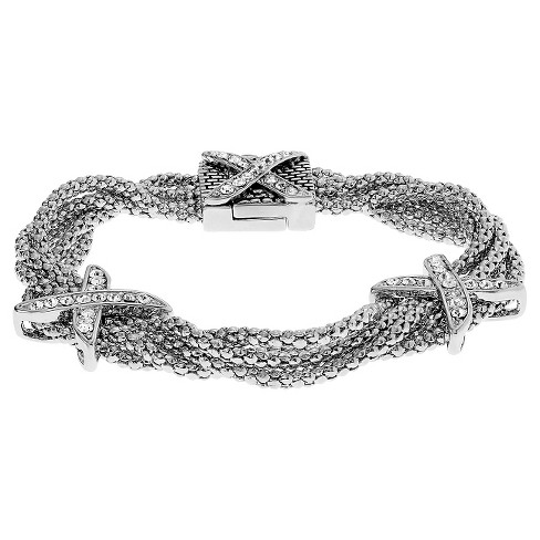 4/5 CT. T.W. Round-cut CZ X Multi-chain Pave Set Bracelet in Base Metal - Silver - image 1 of 2