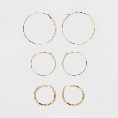 Wire and Tubular Hoop Earring Set 3ct - Wild Fable™ Gold