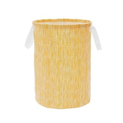 Soft Sided Scrunchable Round Laundry Hamper Yellow Dot - Room Essentials™