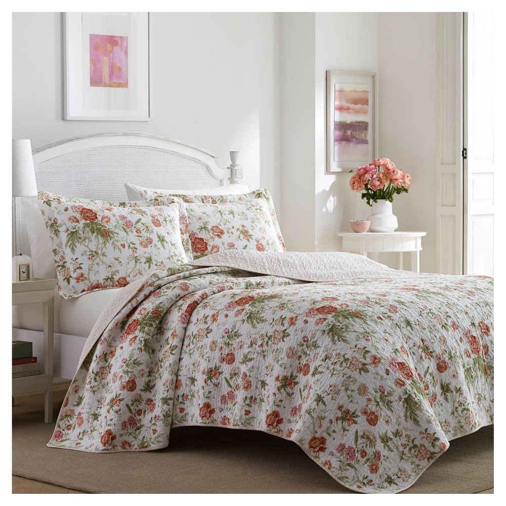 Coral Pink Breezy Floral Quilt Set (King) 3pc - Laura Ashley, Green Pink