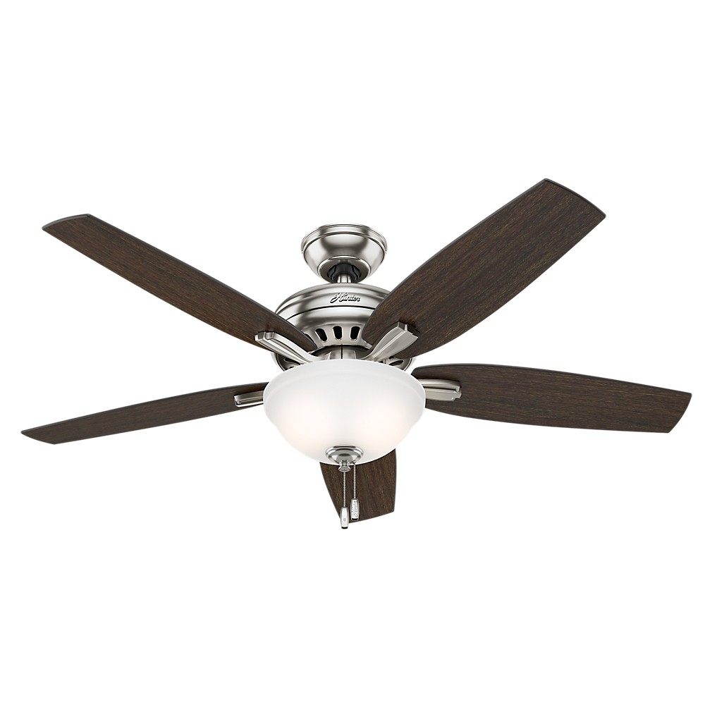 """Image of """"52"""""""" Newsome Brushed Nickel Ceiling Fan with Light - Hunter Fan"""""""