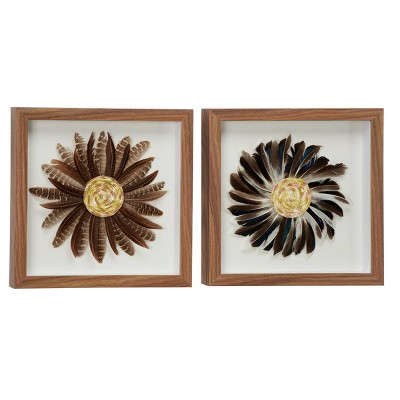 """(Set of 2) 15"""" x 15"""" Eclectic Style Feather Shadow Box Wall Decor in Square Wood Frames Brown and Black - Olivia & May"""