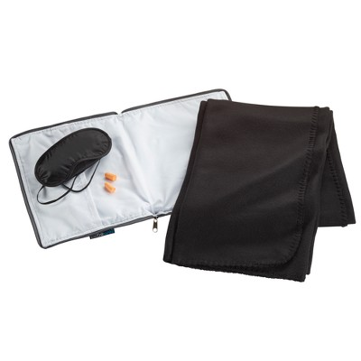 BeWell™ Ultimate Comfort Travel Set (4pc set: Eye Mask, Pillow, Blanket, Ear Plugs)