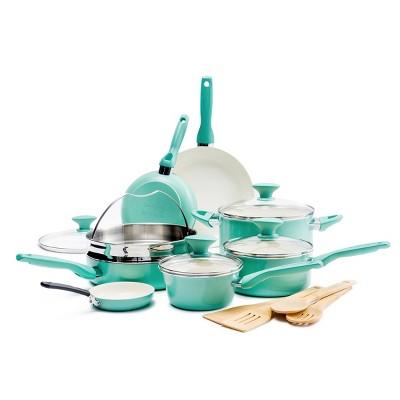 GreenPan Rio 16pc Cookware Set Turquoise