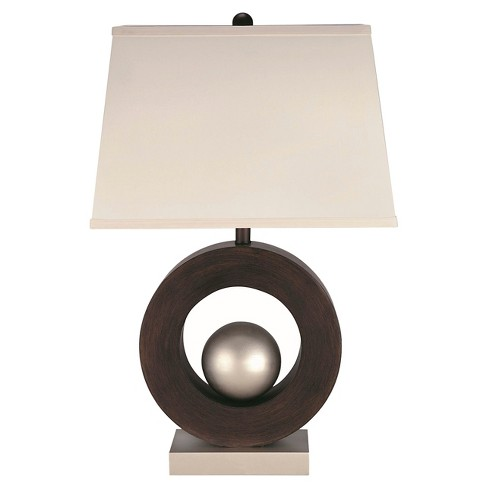 Lite Source Circuline 1 Light Table Lamp (Lamp Only) - Dark Walnut, Satin Steel - image 1 of 2