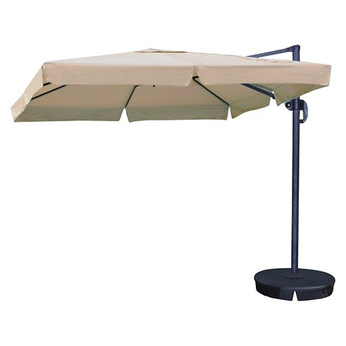 Island Umbrella Santorini 10' Square Cantilever Umbrella with Valance - image 1 of 4