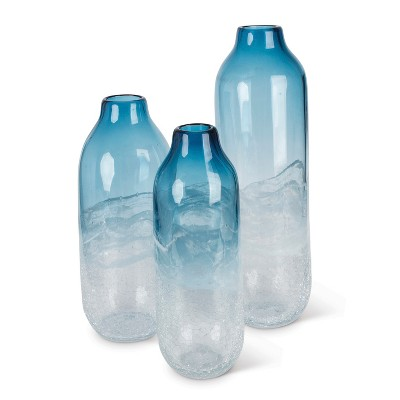 Lone Elm Studios Assorted-sized Artisanal Smooth Glass Vases in Milky White and Indigo Blue (Set of 3)
