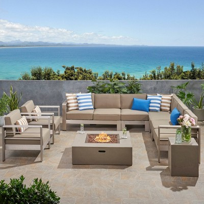 Cape Coral 9pc Aluminum LShaped Sofa Sectional and Fire Pit Set  Khaki/Light Gray - Christopher Knight Home