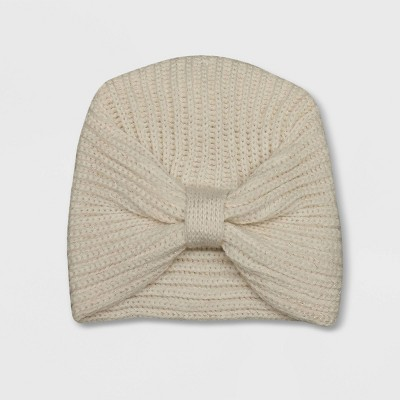 Baby Girls' Large Bow Fleece Hat - Cat & Jack™ Cream 0-6M