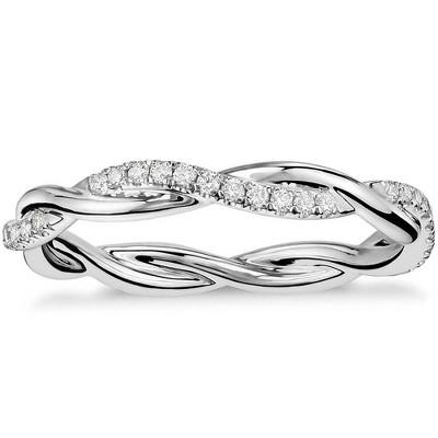 Pompeii3 1/3 Ct Diamond Eternity Petite Twist Eternity Ring 10k White Gold