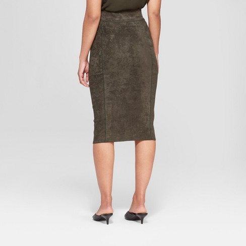 175338cdd Women's Midi Suede Pencil Skirt - Prologue™ Olive XL : Target