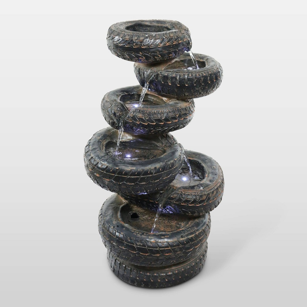 "Image of ""31"""" 7-Tier Cascading Tire Fountain With 5 White LED Lights - Alpine Corporation"""