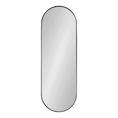 """16"""" x 48"""" Rollo Capsule Framed Decorative Wall Mirror Black - Kate & Laurel All Things Decor"""