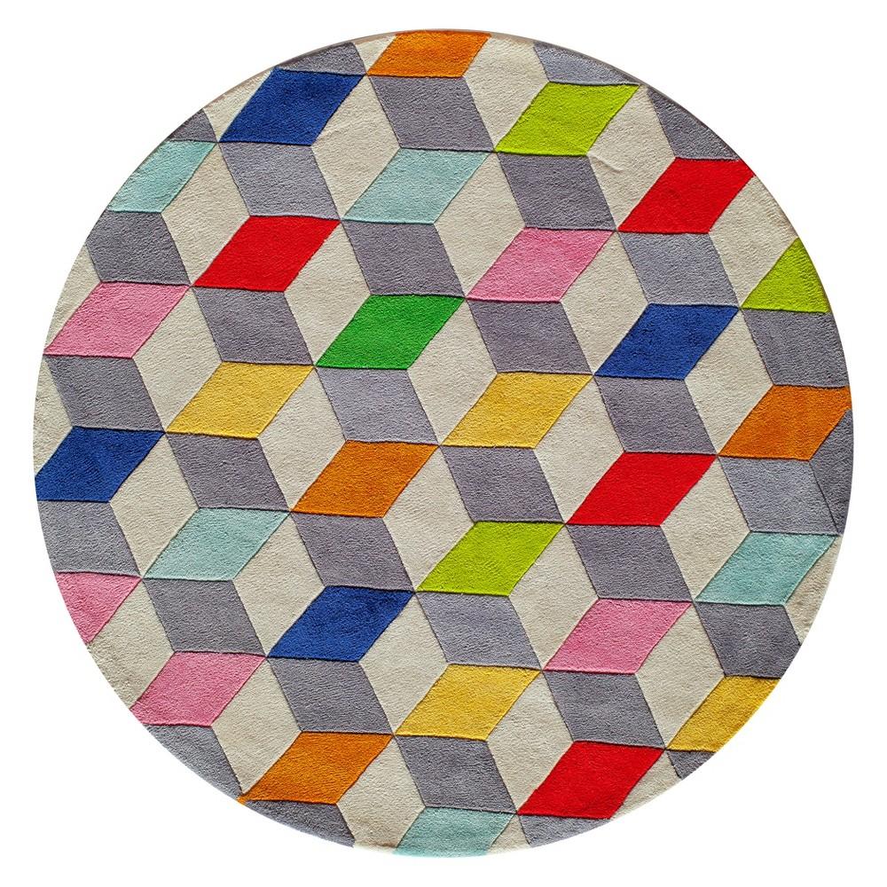 5'X5' Geometric Tufted Round Area Rug - Momeni, Multicolored