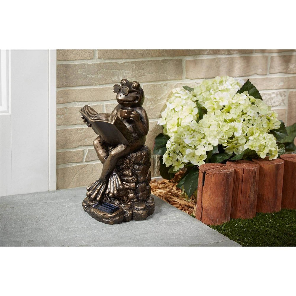 """Image of """"12"""""""" Reading Frog Solar Polyresin Statue Brown - Smart Solar"""""""