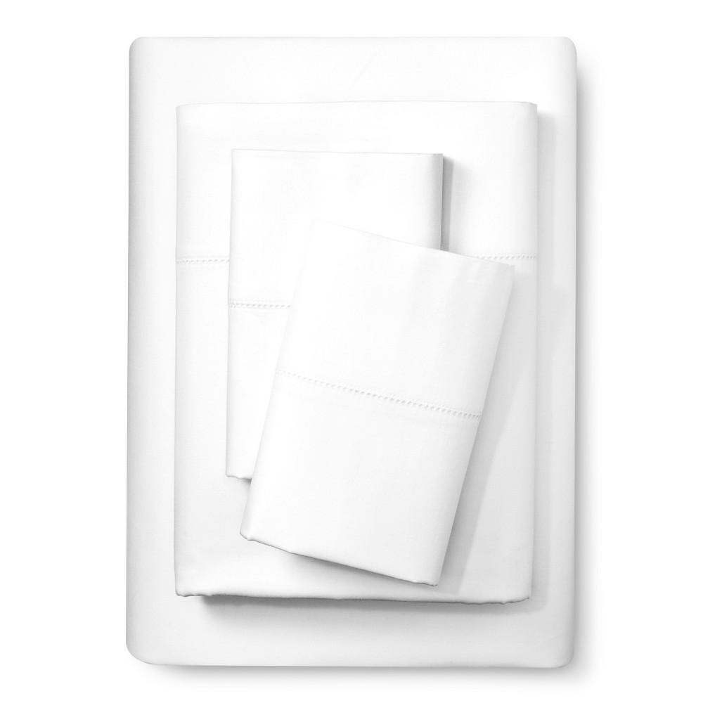 Image of Elite Home Hemstitch 400TC Solid Sheet Set - White (Full)