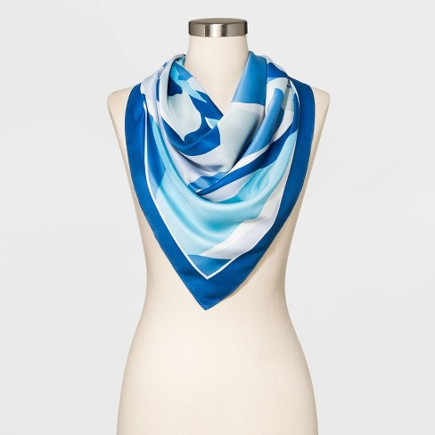 Women's Square Floral Scarf - A New Day™ Blue - image 1 of 3