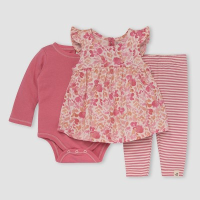 Burt's Bees Baby® Baby Girls' 3pc Wild Floral Tunic Bodysuit & Leggings Set - Rose Pink