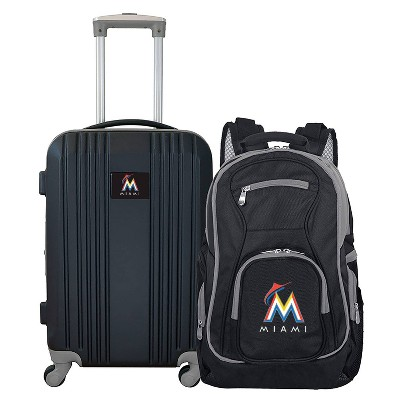 MLB Miami Marlins 2 Pc Carry On Luggage Set