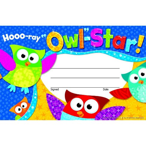 Trend Enterprises Owl-Stars Hooo Ray Recognition Awards, pk of 30 - image 1 of 1