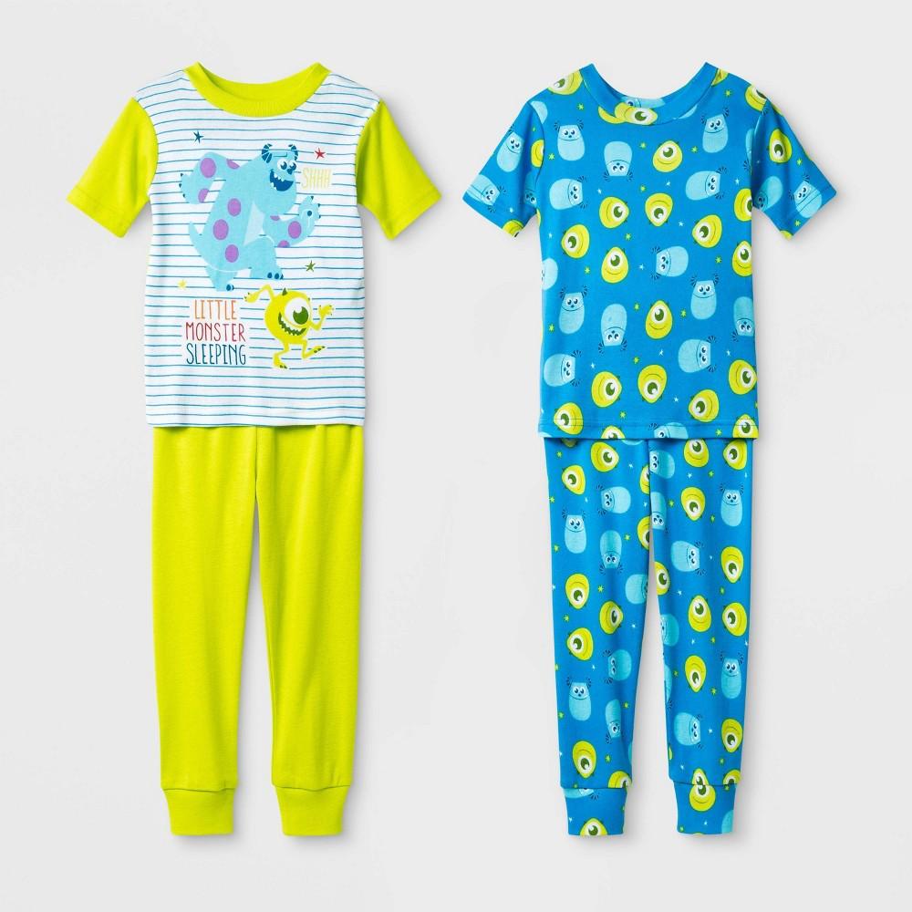 Image of Baby Boys' 4pc Monsters, Inc. 100% Cotton Pajama Set - Green 18M, Boy's