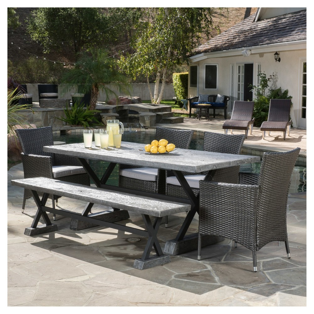 Ponza 6pc Rectangle All-Weather Wicker Patio Dining Set - Gray - Christopher Knight Home