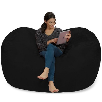 Large Memory Foam Bean Bag Lounger 6 ft - Black - Relax Sacks