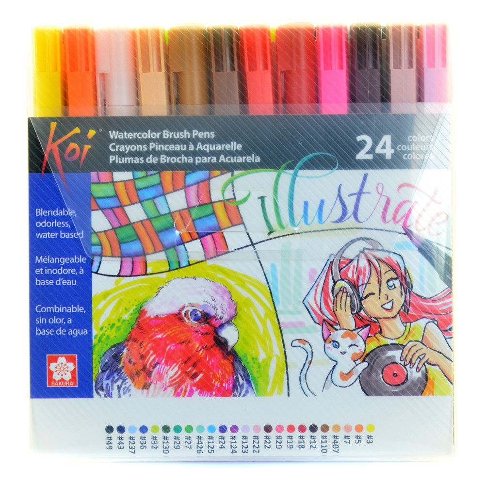 Image of Coloring Brush Pen Set - Koi 24ct