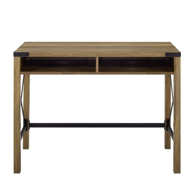 Sophie Urban Industrial X Frame Modern Farmhouse Writing Desk Reclaimed Barnwood - Saracina Home