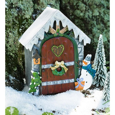 Miniature Fairy Garden Holiday Fireside Door With Led Light Plow Hearth