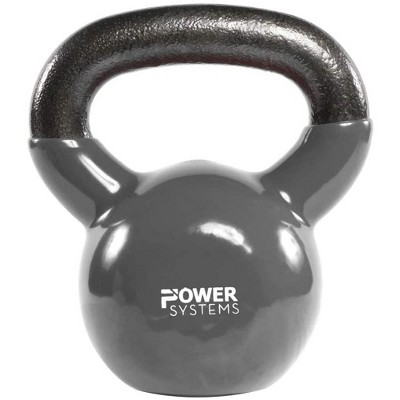 Power Systems Premium Vinyl Covered Cast Iron Kettlebell Prime Home Gym Exercise Weight Training Accessory, 18 Pounds, Gray