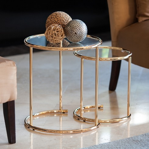 Danya B Set Of 2 Nested Round End Side Tables For Small Spaces Gold With Clear Glass Target
