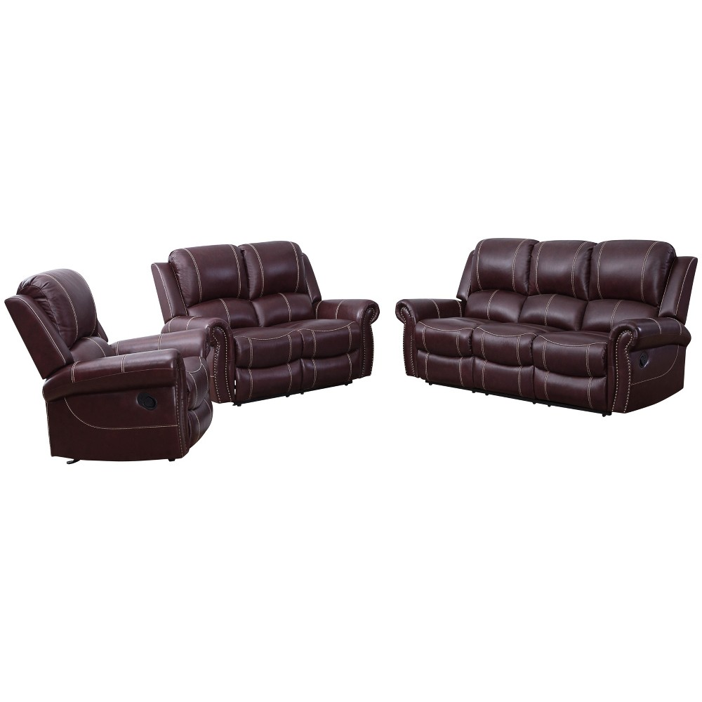 Image of 3pc Lorenzo Leather Reclining Sofa, Loveseat & Armchair Burgundy - Abbyson Living