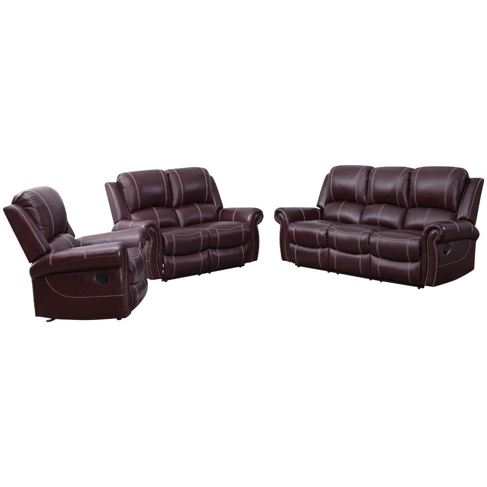 Image of 3pc Lorenzo Top Grain Leather Reclining Sofa Set Burgundy - Abbyson Living