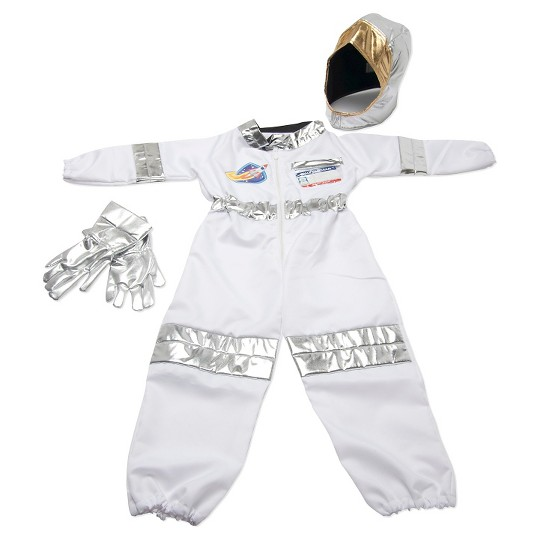 Melissa & Doug Astronaut Role Play Costume Set (5pc) - Jumpsuit, Helmet, Gloves, Name Tag, Adult Unisex, Size: Small, Red/Gold/Silver image number null