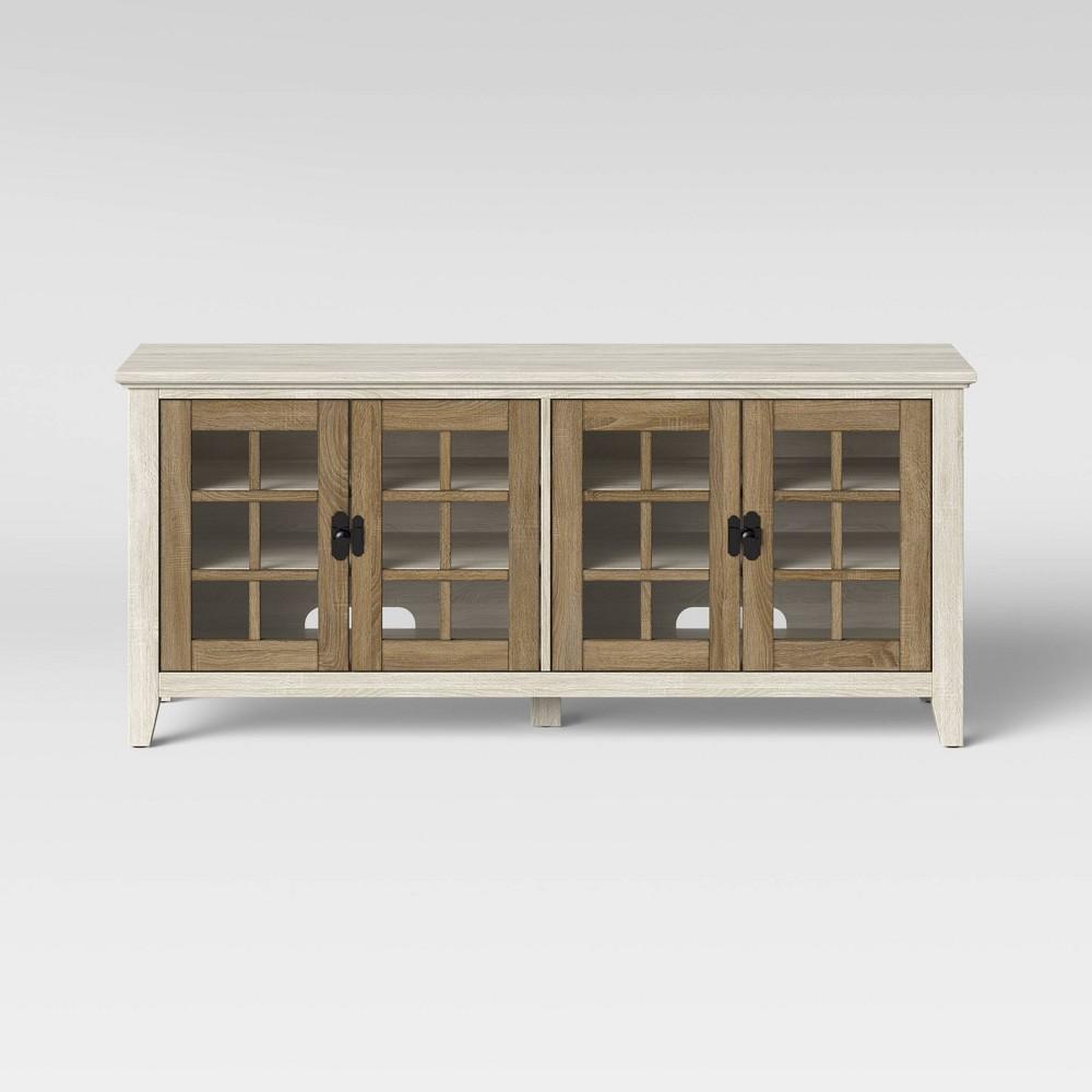 Washburn Farmhouse Media Stand with Storage Off-White (Beige) - Threshold