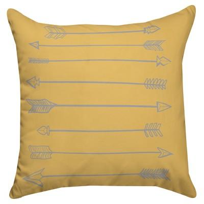 Yellow Arrow Throw Pillow (14 x14 )Thumbprintz