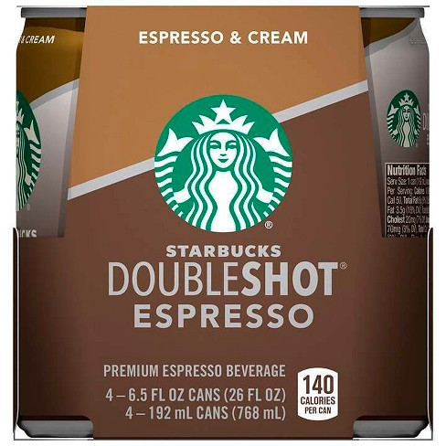 Starbucks Double Shot Espresso And Cream Coffee Drink 4pk 6 5 Fl Oz Cans