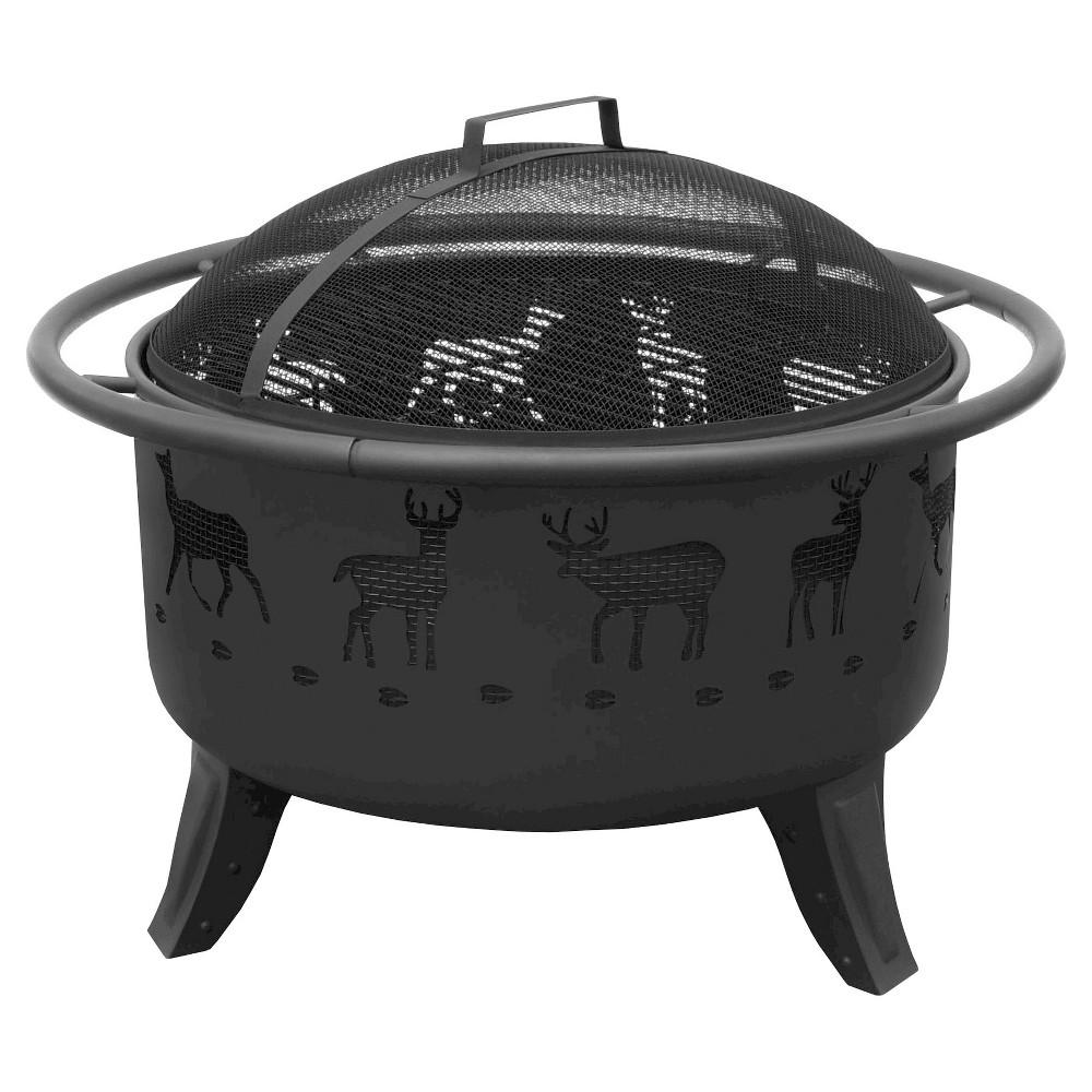Image of Landmann Deer Tracks Patio Lights Fire Pit Steel - Black