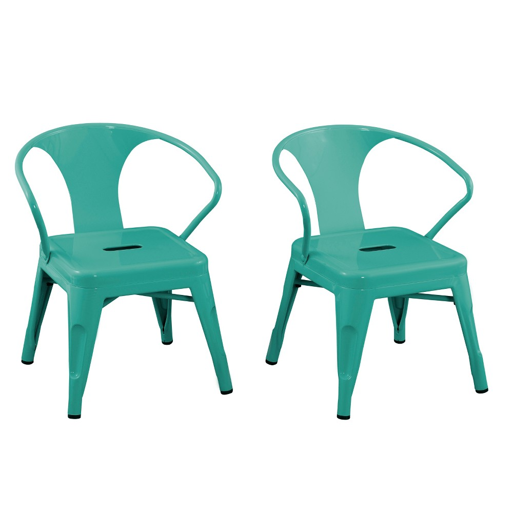 Image of Set of 2 Kids Metal Activity Chair Teal - Acessential, Blue